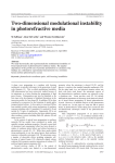 Two-dimensional modulational instability in photorefractive media M Saffman , Glen McCarthy