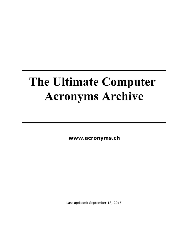 TUCAA: The Ultimate Computer Acronyms Archive