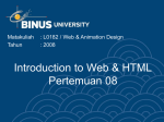 Introduction to Web & HTML Pertemuan 08 Matakuliah