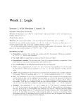 Week 1: Logic Lecture 1, 8/21 (Sections 1.1 and 1.3)