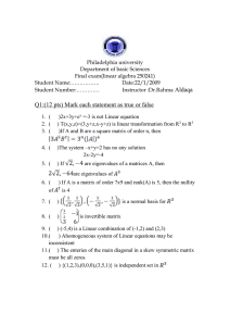 Philadelphia university Department of basic Sciences Final exam(linear algebra 250241)