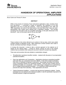 HANDBOOK OF OPERATIONAL AMPLIFIER APPLICATIONS Application Report