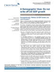A Demographic View: Do not write off US GDP growth ""