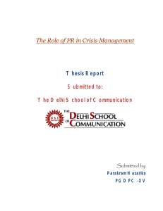 PR in Crisis Management Thesis