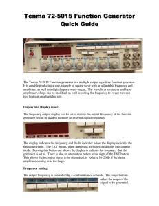 Tenma 72-5015 Function Generator quick guide