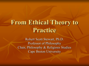 From Ethical Theory to Practice