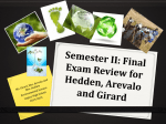 Semester II: Final Exam Review for Hedden and