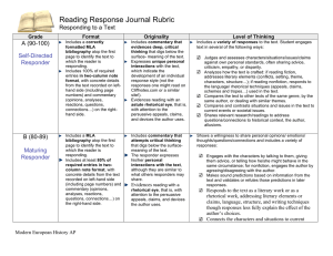 Reading Response Journal Rubric Responding to a Text A (90-100) Self-Directed