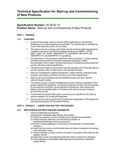 Technical Specification for Start-up and