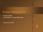 Strategic Thinking for CFR B. Bruce Bare Acting Dean, Forest Resources