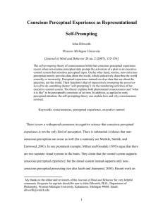 Conscious Perceptual Experience as Representational Self-Prompting  John Dilworth