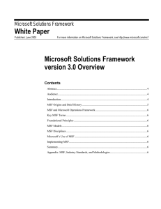 White Paper Microsoft Solutions Framework version 3.0 Overview