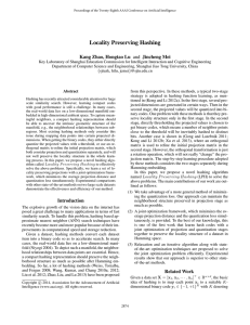 Locality Preserving Hashing Kang Zhao, Hongtao Lu and Jincheng Mei