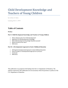 Part I: Child Development Knowledge and Teachers of Young