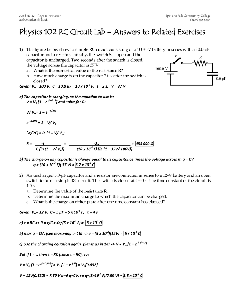 Physics 102 Rc Circuit Lab Answers To Related Exercises Circuits Charging