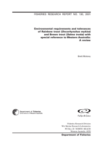Environmental requirements and tolerances of Rainbow trout