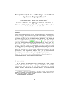 Entropy Viscosity Method for the Single Material Euler I Jean-Luc Guermond