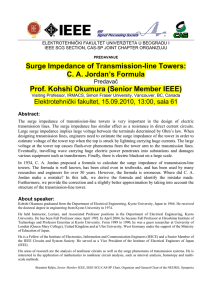 Surge Impedance of Transmission-line Towers: C. A. Jordan`s
