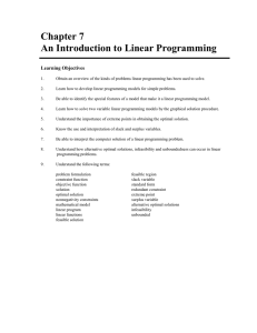 Chapter 7 An Introduction to Linear Programming  Learning Objectives