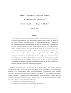 Does Corporate Governance Matter in Competitive Industries?∗