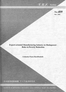 Export-oriented Manufacturing Industry in Madagascar: Roles in