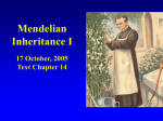 Mendelian Inheritance I 17 October, 2005 Text Chapter 14