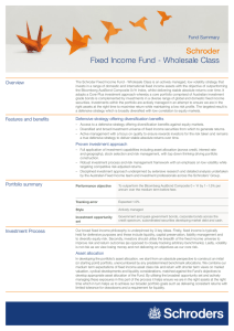 Schroder Fixed Income Fund - Wholesale Class Fund Summary Overview