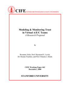 CIFE  Modeling & Monitoring Trust in Virtual A/E/C Teams