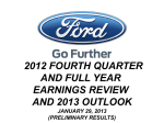 2012 FOURTH QUARTER AND FULL YEAR EARNINGS REVIEW AND 2013 OUTLOOK