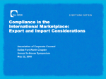 Compliance in the International Marketplace: Export and Import