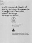 An Econometric Model of Barley Acreage Response to Changes in Prices and