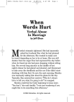 When Words Hurt - Verbal Abuse in Marriage
