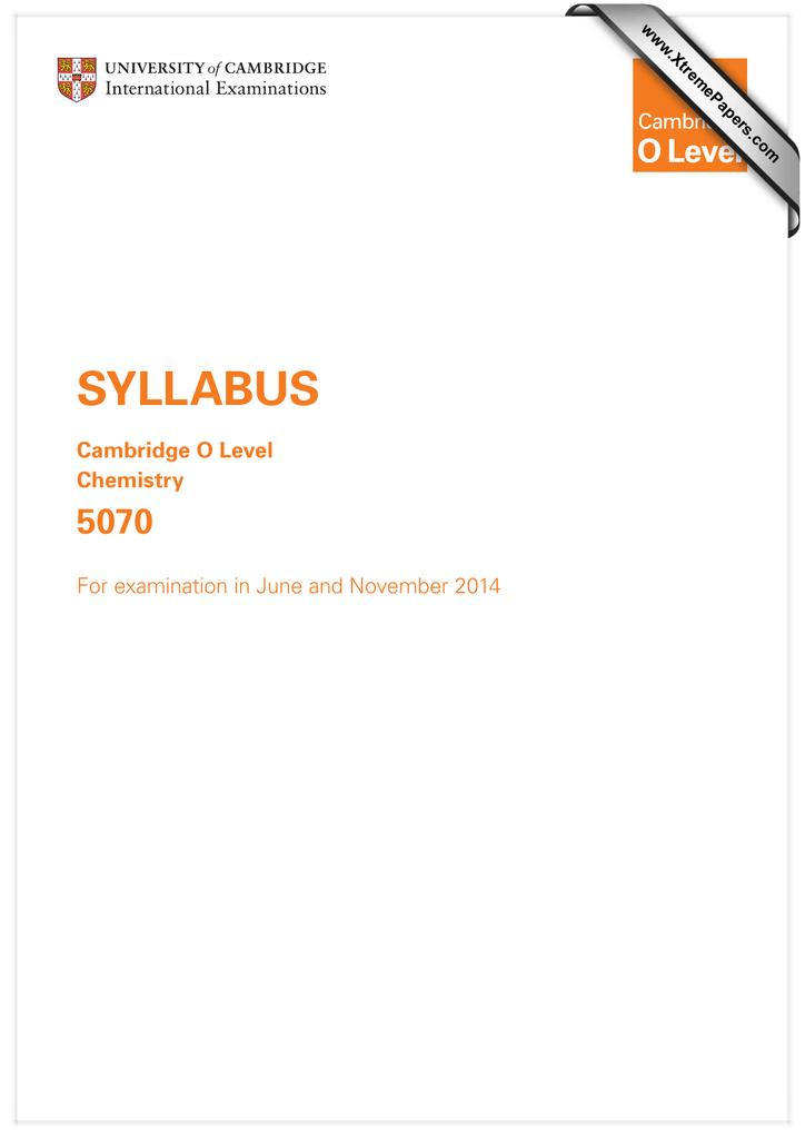 SYLLABUS 5070 Cambridge O Level Chemistry