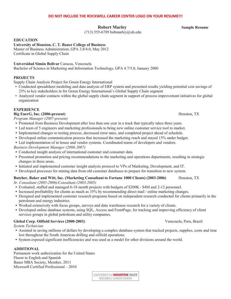 r sum - Bauer College Of Business Resume Template