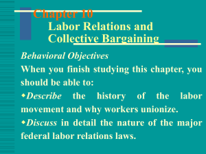 Chapter 14 Labor Relations and Collective Bargaining