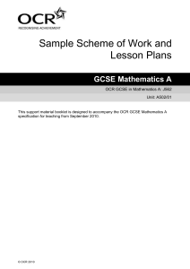 Unit A502/01 - Sample scheme of work and lesson plan booklet (DOC, 4MB)