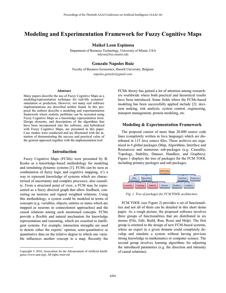Modeling and Experimentation Framework for Fuzzy Cognitive