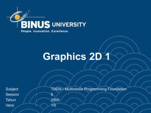 Graphics 2D 1 Subject : T0934 / Multimedia Programming Foundation