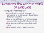 ANTHROPOLOGY AND THE STUDY OF LANGUAGE Linguistic Anthropology