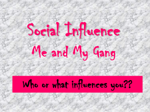 Social Influence Me and My Gang Who or what influences you??