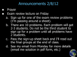 Announcements 2/8/12