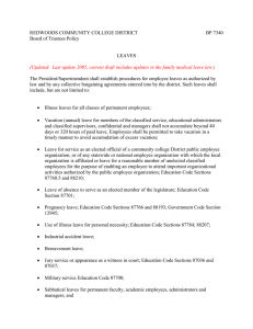 REDWOODS COMMUNITY COLLEGE DISTRICT  BP 7340 Board of Trustees Policy