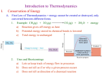 Introduction to Thermodynamics I. Conservation of Energy