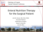 Nutrition Therapy for the Post-operative patient