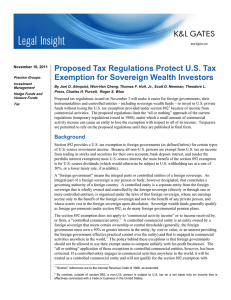 Proposed Tax Regulations Protect U.S. Tax Exemption for Sovereign Wealth Investors
