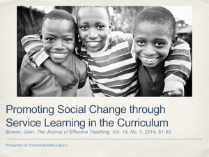 Promoting Social Change through Service Learning in the Curriculum