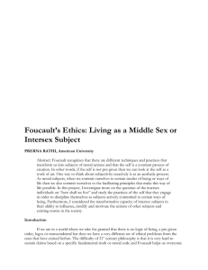 Foucault's Ethics: Living as a Middle Sex or Intersex Subject