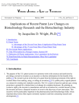 Implications of Recent Patent Law Changes on Biotechnology