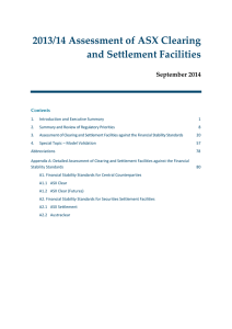 2013/14 Assessment of ASX Clearing and Settlement Facilities September 2014 Contents