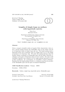 Lengths of simple loops on surfaces with hyperbolic metrics Geometry & Topology G